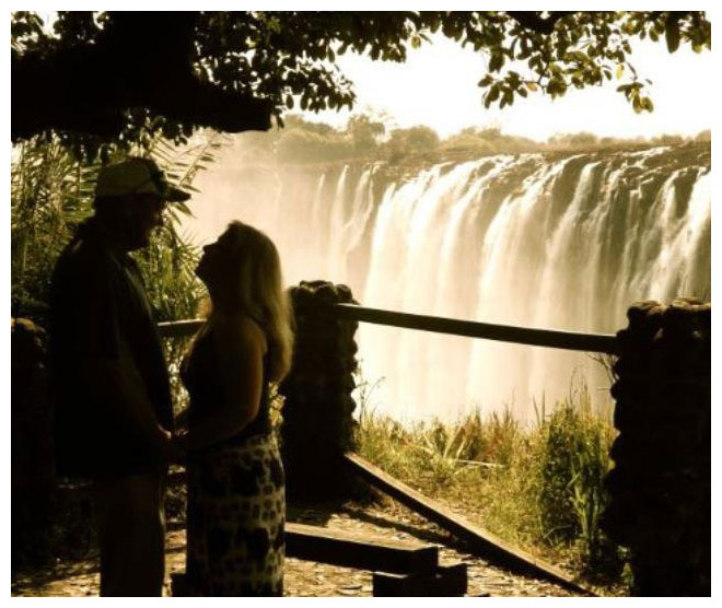 Picture of Bobby and Becky Bonner in Africa near Victoria Falls