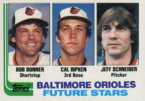 Future Stars rookie card with Bobby Bonner and Cal Ripken Jr.